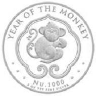 Kingdom of Bhutan / Bhutan Lunar Monkey / Silver .999 / 5oz / 155.5g / 65.00mm / Mintage: 1,000.