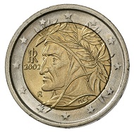 Italy. 2 euro 2002. Nominal value, in the background map of Europe. R. Bust of Dante with laurel wreath, facing left. © MoneyMuseum, Zurich.