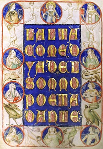 LALTA COMEDYA DEL SOMMO POETA DANTE, title of the Codex Altonensis; manuscript with illuminations, Northern Italy, around 1360. Source: Wikicommons.