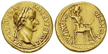 Lot 49: Tiberius. Aureus, 15-18 AD. Estimate: CHF 4'500.