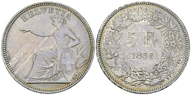 Lot 182: Solothurn. 5 Franken 1855. Estimate: CHF 3'000.