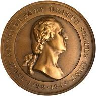 Lot 12050: 1942 Assay Commission Medal. By John R. Sinnock and Pierre Simon DuVivier. JK AC-87. Rarity-6. Edge Incuse RALPH W. SMITH. MS-66 (NGC).