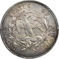 Lot 13092: 1795 Draped Bust Silver Dollar. Draped Bust. BB-52, B-15. Rarity-2. Centered Bust. MS-63+ (PCGS). 30th Anniversary Secure Holder.
