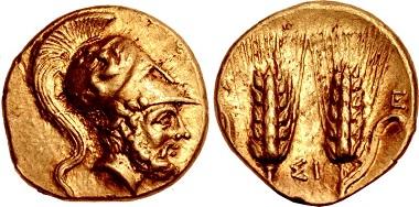425490: LUCANIA, Metapontion. Circa 280-279 BC. Tetrobol - Third Stater. Johnston G5.1/5.3 (same obv./rev. die). Near EF. $6750.