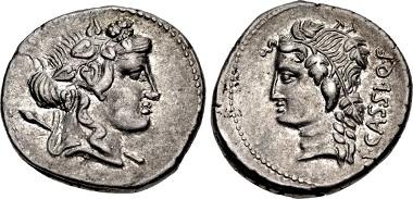 422115: L. Cassius Q.f. Longinus. 75 BC. Denarius. Rome mint. Crawford 386/1. EF. From the Volteia Collection. $1250.