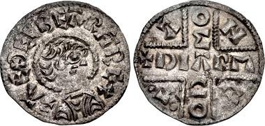 426213: ANGLO-SAXON, Kings of Wessex. Æthelberth. 858-865/6. Penny. Caentwarabyrig (Canterbury) mint; Dearmod, moneyer. Struck circa 858-864. Naismith C181c-e; BMC 18-9. Good VF. $7850.