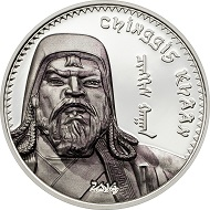 Chinggis Khaan, the 2014 issue to the left and the 2016 coin to the right.