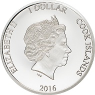 Happy 90th Birthday – QE II. The 1 Dollar coin with a weight of 2 g and a diameter of 22.5 to the left, and the 20 Dollar coin with a weight of 3 oz and a diameter of 100 mm to the right.