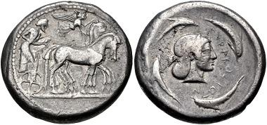 Lot 19: SICILY, Syracuse. Hieron I. 478-466 BC. Tetradrachm. Struck circa 478-475 BC. HGC 2, 1306. VF, toned. Well centered. From the Colin E. Pitchfork Collection. Estimate $300.