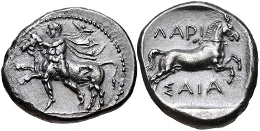 Lot 82: THESSALY, Larissa. Circa 450/40-420 BC. Drachm. Lorber, Thessalian 50. Good VF, toned, minor porosity. From the BCD Collection. Estimate $150.