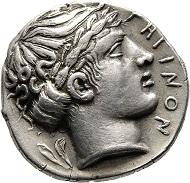 Bruttium, Rhegion. Tetradrachme 466/415 v. Chr. Herzfelder 85. Bestens zentriert mit hohem Relief. Vorzüglich.
