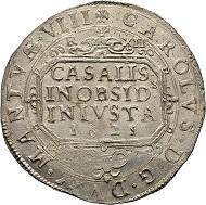 Italien, Casale-Monferrato, Markgrafschaft. Carlo I. Gonzaga, 1627-1637. Ducatone ossidionale 1628. Brause-Mansfeld Tf. 27,1; Dav. 3871; Varesi 350. Äußerst selten. Leichte Prägeschwäche, vorzüglich.