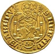 Mainz, Erzbistum. Sedisvakanz 1373. Goldgulden o. J., Bingen. F.-; Felke 156; Link 9; Prinz Alexander - ; Slg. Heerdt -; Slg. Pick 108 (dieses Ex.); Slg. Walther -. Äußerst selten. Vorzüglich / Stempelglanz.