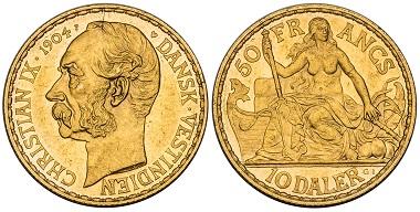 Danish West Indies. Christian IX. 10 Daler.