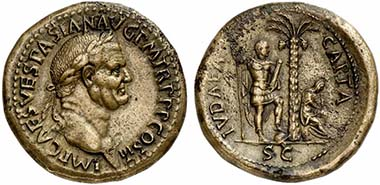 Lot 172. Vespasian, Sestertius. Rv. IVDAEA CAPTA. RIC 167. Almost extremely fine. Estimate: US$ 2,500; Price Realized: US$ 117,000