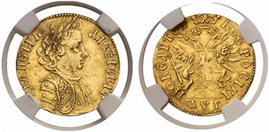 Lot 1005. Peter I, Ducat. Fr. 87. Good extremely fine. Estimate: US$ 75,000; Price Realized: US$ 269,100.