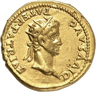 Lot 639: CALIGULA, 37-41. With Divus Augustus. Aureus, 37, Lugdunum. Very rare. Nearly extremely fine. Estimate: 60,000,- euros. Hammer price: 95,000,- euros.