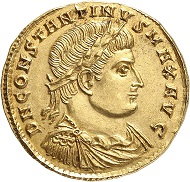 Lot 938: CONSTANTINE I, 306-337. Gold medallion of 1 1/2 solidi, 324, Nicomedia. Unique. Extremely fine. Estimate: 10,000,- euros. Hammer price: 55,000,- euros.