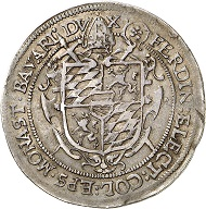 Lot 2107: MUENSTER. Ferdinand of Bavaria, 1612-1650. 1/2 taler 1633. Extremely rare. Very fine. Estimate: 20,000,- euros. Hammer price: 24,000,- euros.