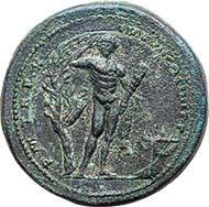 No. 132: ROME. Commodus, 177-192. AE medallion, 185. Rev. Emperor as Hercules. Gnecchi p. 60. 79 with pl. Taf. 83. 6. Very rare. Brillant uncirculated. CHF 100.000 / 105.000