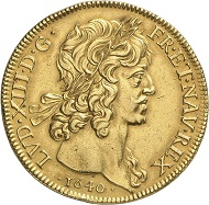 Lot 4055: FRANCE. Louis XIII, 1610-1643. Huit louis d'or à la tete laurée 1640, Paris. Extremely rare. Very fine to extremely fine. Estimate: 100,000,- euros. Hammer price: 120,000,- euros.