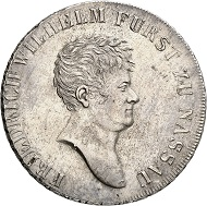 Lot 235: NASSAU. Frederick William of Weilburg, 1788-1816. Konventionstaler 1815, younger head. Thun 224. AKS -. J. -. Of greatest rarity, being the only specimen available on the market! Extremely fine. Estimate: 50,000,- euros.