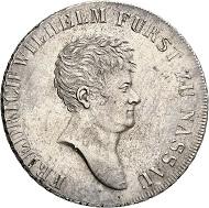 Nr. 235: NASSAU. Friedrich Wilhelm zu Weilburg, 1788-1816. Konventionstaler 1815, jüngerer Kopf. Thun 224. AKS -. J. -. Von größter Seltenheit, nur dieses Exemplar im Handel! Vorzüglich. Taxe: 50.000,- Euro.