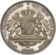 Nr. 104: BAYERN. Ludwig II., 1864-1886. Vereinsdoppeltaler 1865. Thun 101. AKS 172. J. 106. Schöne Patina. Erstabschlag. Fast Stempelglanz. Taxe: 12.500,- Euro.