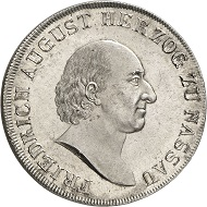 Lot 236: NASSAU. Frederick William of Weilburg, 1788-1816. Konventionstaler 1815. Joint coinage on the visit of the mint of Ehrenbreitstein, smooth edge.Thun 225. AKS -. J. -. Showpiece of greatest rarity and fine grade. Mint state. Estimate: 50,000,- euros.