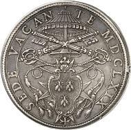 Nr. 572: ITALIEN / VATIKAN. Sedisvakanz 1669. Piastra 1669, Rom. Dav. 4073. Sehr schön bis vorzüglich. Taxe: 450,- Euro.