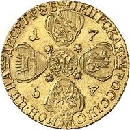 Nr. 862: RUSSLAND. Katharina II., 1762-1796. 10 Rubel 1767, St. Petersburg. Friedb. 129a. Kabinettstück! Mit Expertise von I. V. Shiryakov. Fast Stempelglanz. Taxe: 24.000,- Euro.