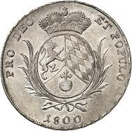 Nr. 1605: BAYERN. Maximilian IV. (I.) Joseph, 1799-1825. Konventionstaler 1800, ohne Münzmeisterzeichen. Mit Aversumschrift S R P A statt S R I A. Diese Variante ist nur bei Witt. 2557 Anm. und Stutzmann 150b (Unikum) erwähnt! Äußerst selten. Sehr schön bis vorzüglich. Taxe: 750,- Euro.