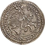Nr. 2434: SCHLESWIG-HOLSTEIN-SCHAUENBURG. Ernst III., 1601-1622. 1/2 Taler o. J., Altona. Biblischer Halbtaler. Lange 838. Äußerst selten. Schöne Patina, minimaler Schrötlingsfehler. Fast vorzüglich. Taxe: 20.000,- Euro.