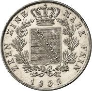 Lot 400: SAXE-COBURG-GOTHA. Ernest I, 1826-1844. Konventionstaler 1832, Gotha. Thun 360. AKS 72. J. 255. Very rare, only 304 specimens struck! First strike. Tiny hairlines. FDC. Estimate: 25,000,- euros.