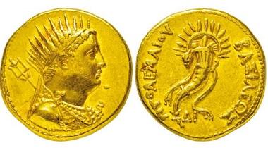 298: Ägypten. Ptolemaios IV. Philopatoros. 221-204 v. Chr. Gold-Oktodrachme. Taxe Euro 12.500,-