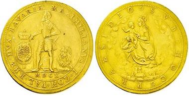 1042: Herzogtum Bayern. Maximilian I. 1598-1623. 4 Dukaten 1610. Taxe Euro 5250,-