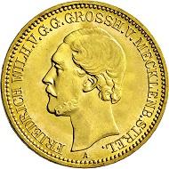 1759: Großherzogtum Mecklenburg-Strelitz. Friedrich Wilhelm. 1860-1904. 10 Mark 1880 A. Taxe Euro 10.000,-