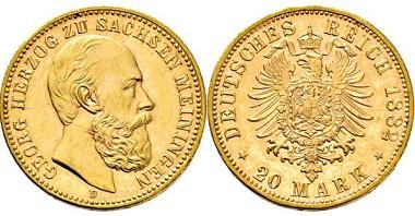 1949: Herzogtum Sachsen-Meiningen. Georg II. 1866-1914. 20 Mark 1882 D. Taxe Euro 20.000,-