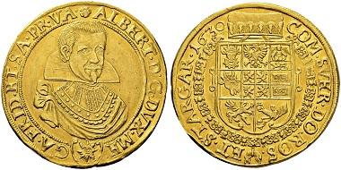 Lot 58: Albrecht v. Wallenstein, 10 Dukaten 1630, Mzst. Jicin.