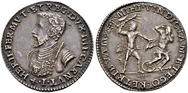 Lot 1525: Italy, Ferrara. Mezzo scudo 1546.