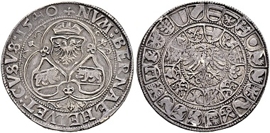 Lot 3524: Taler of 1540 with one-headed eagle.