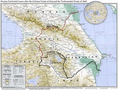 Persian border according to the Treaty of Gulistan. Source: Wikipedia.