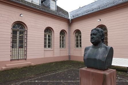 Portrait of Weinbrenner in the courtyard of the Karlsruhe Mint. Photograph: UK.