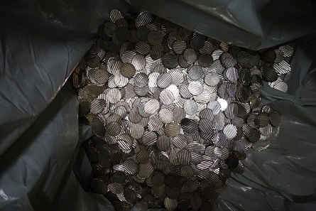 This is left of a coin after passing through a decoiner. Photograph: UK.