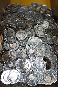 The 5 euro coins in FDC quality. Photograph: UK.