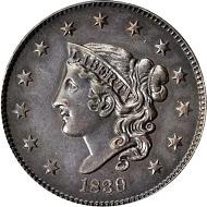 Lot 10192: 1839/6 Modified Matron Head Cent. N-1. Plain Hair Cords. Rarity-3. Noyes Die State-A/A. AU-53 (PCGS). Sold $23,500.