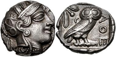 Lot 94: ATTICA, Athens. Circa 454-404 BC. Tetradrachm. Kroll 8; HGC 4, 1597. Good VF. From the J. Eric Engstrom Collection. Estimate $500.