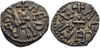 Lot 575: ANGLO-SAXON, Kings of Northumbria. Æthelred II. First reign, 841-843/4. Styca. Eoferwic (York) mint. Pirie, Guide 3.15b; SCBC 868 (50th ed. - this coin illustrated; Second Reign). Good VF. From the Dr. Andrew Wayne Collection. Estimate $100.