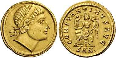 Lot 199: Constantine I, 307/310-337. Solidus, Nikomedia, 324. Depeyrot 34. RIC 70. Rare and attractive. Extremely fine. Estimate: 20,000 CHF.