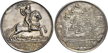 Lot 275: NETHERLANDS, The Dutch Republic. Frederik Hendrik of Orange-Nassau, 1625-1647. Medal on the Battle of the Slaak on 13 September 1631, won by the Dutch against a much larger Spanish fleet; by A. van der Wilge, 1631. Sandwich AA8. Van Loon II, pp. 194-195. Very rare and attractively toned. About extremely fine. Estimate: 3750 CHF.